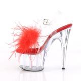 Vermelho marabu penas 18 cm ADORE-708MF sapatos de pole dance