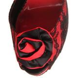 Vermelho tecido de renda 13,5 cm BELLA-17 sandálias para noite de gala