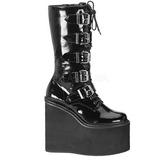 Verniz 14 cm SWING-220 plataforma botas mulher com fivelas