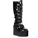 Verniz 9 cm SWING-815 plataforma botas mulher com fivelas