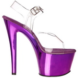 Violeta Transparente 18 cm SKY-308 Plataforma Salto Agulha