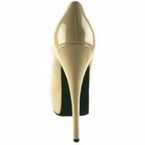 creme Verniz 14,5 cm Burlesque BORDELLO TEEZE-06 Plataforma Scarpin Salto Alto